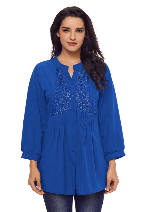 Blue Lace and Pleated Detail Button up Blouse gallery 1