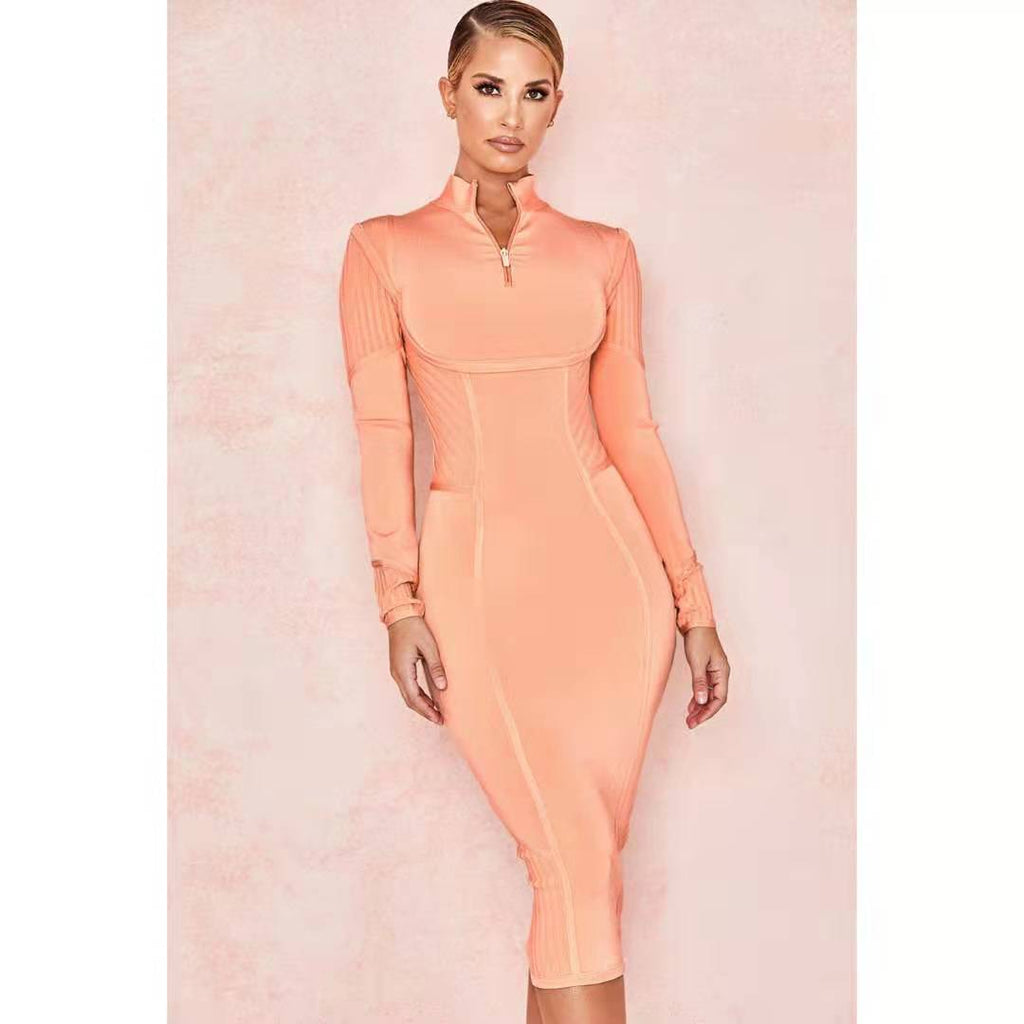Neon Pink Textured Long Sleeve Zipped Bodycon Dress