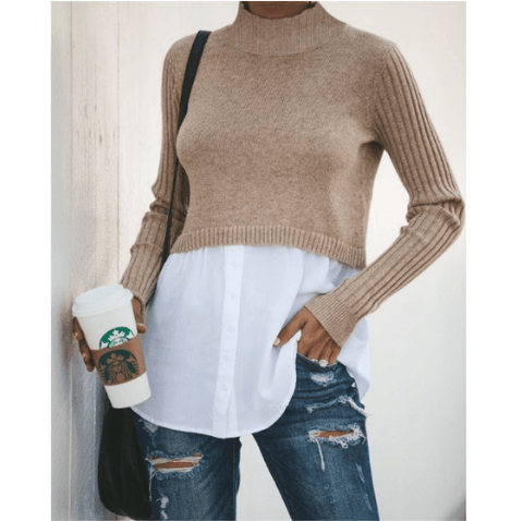 5 Colors Round Neck Shirt Hem Button Detail Knitted Sweater