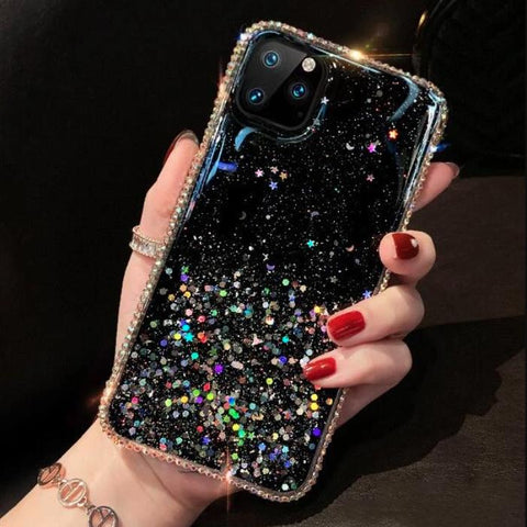 Clear Flowing Glitter Rhinestone Deco Phone Case for Samsung gallery 1