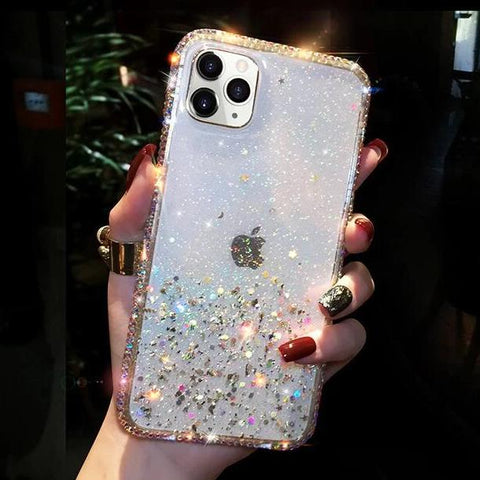Clear Flowing Glitter Rhinestone Deco Phone Case for Samsung gallery 7