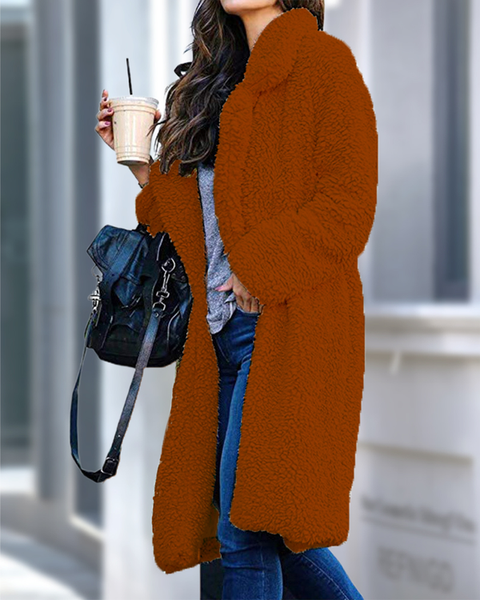 Lapel Neck Solid Fluffy Teddy Coat