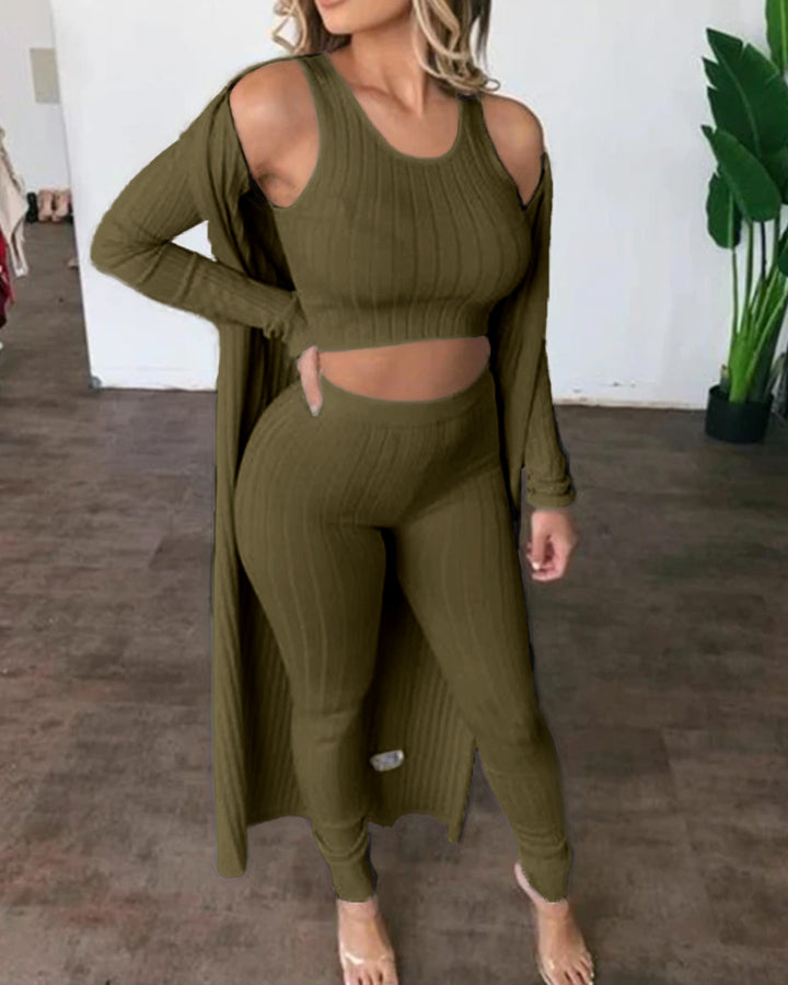 Solid Ribbed High Waist 3 Piece Pants Set gallery 5