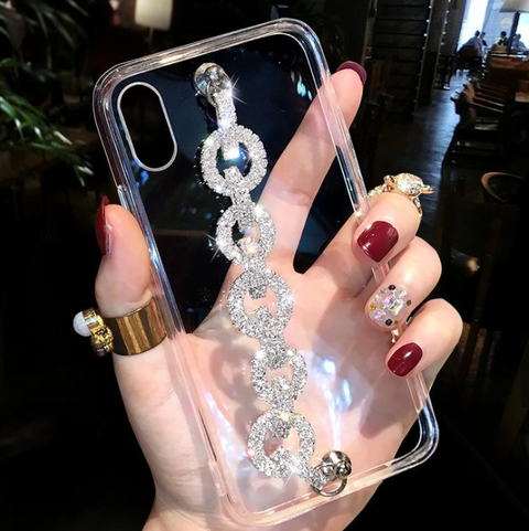 Rhinestone Clear Transparent Phone Case for Samsung with Hand Strap gallery 4