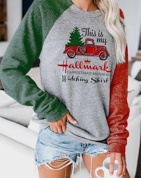 Christmas Trees & Letter Print Colorblock Top