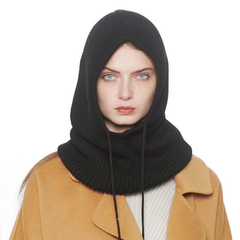 Solid Rib Knit Drawstring Hooded Scarf
