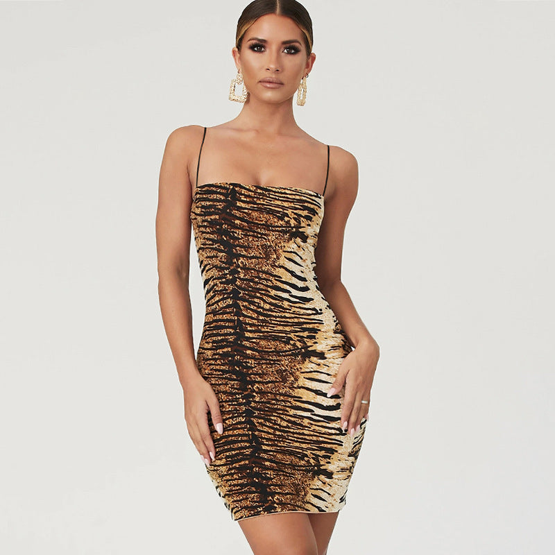Shape Animal Print Spaghetti Strap Slinky Dress