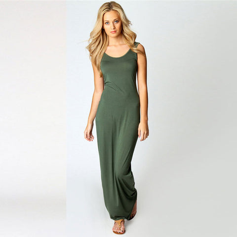 Solid Jersey Sleeveless Fitted Maxi Dress