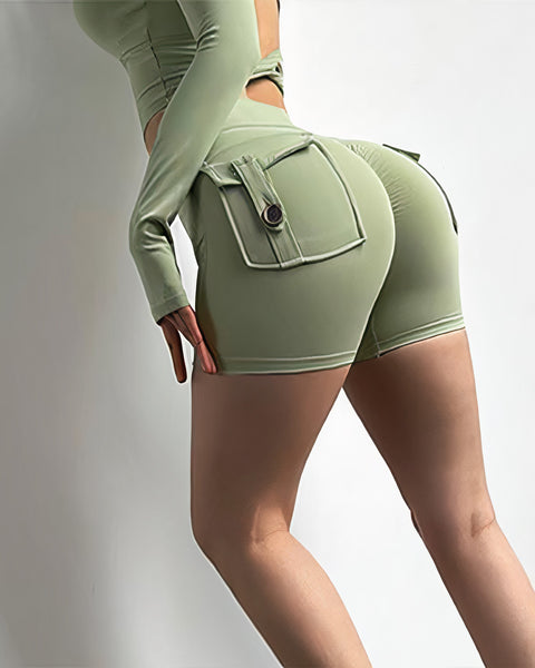 Flap Pocket Ruched Back Sports Shorts gallery 11