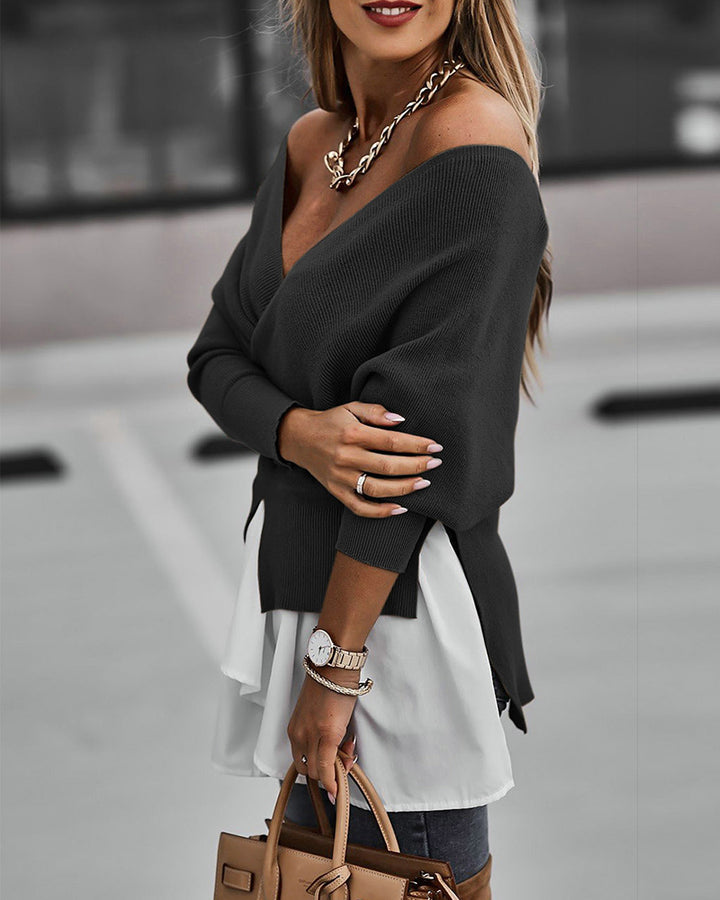Two Tone Tiered Layer Ribbed Split Hem Asymmetrical Sweater gallery 5