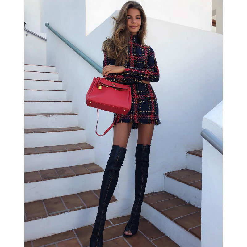 Plaid Color-matching Tassel Slim Long-sleeved Dress