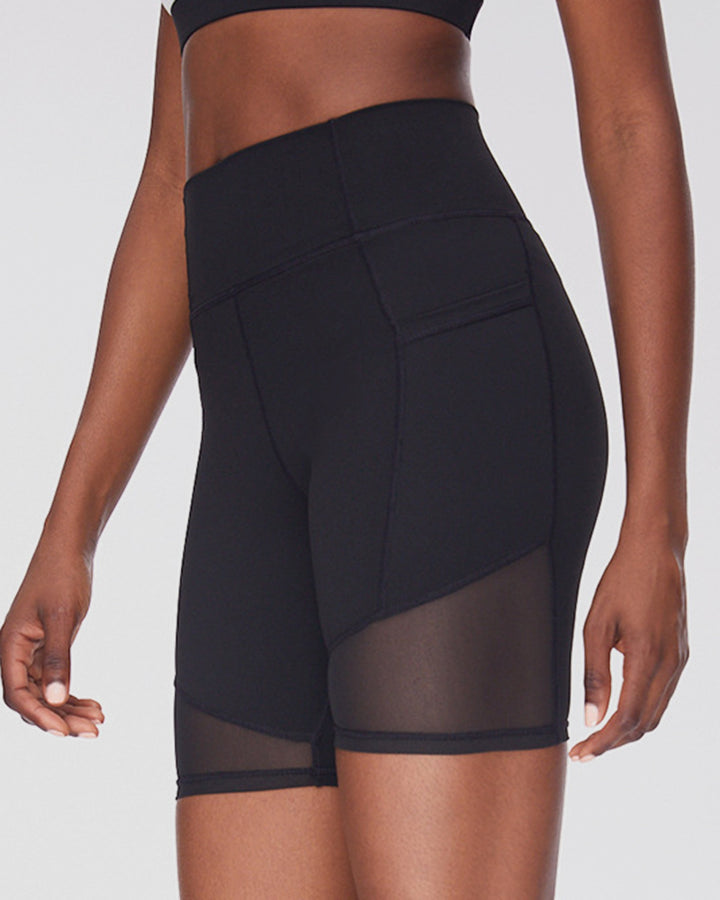 Solid Contrast Mesh High Waist Sports Shorts gallery 1