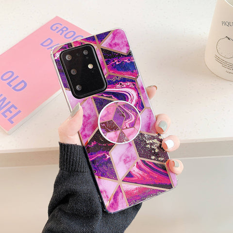 Marble Electroplated Detail Phone Case for Samsung with Phone Holder gallery 8