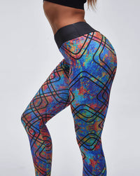 Geometric Printed Hip-Lifting Sports Leggings