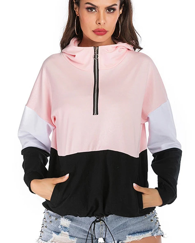 Color Block Half Zip Hooded Sports Jacket
