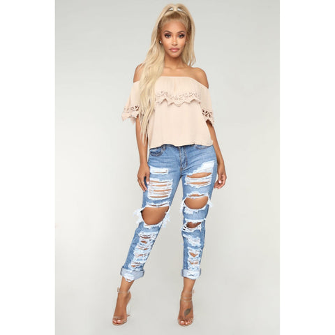 Roll Up Hem Distressed Mom Jeans