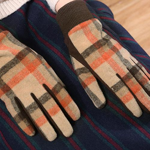 Color Block Check Knit Touch Screen Gloves