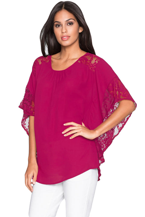 Rosy Lace Splice Batwing Sleeve Chiffon Blouse gallery 1