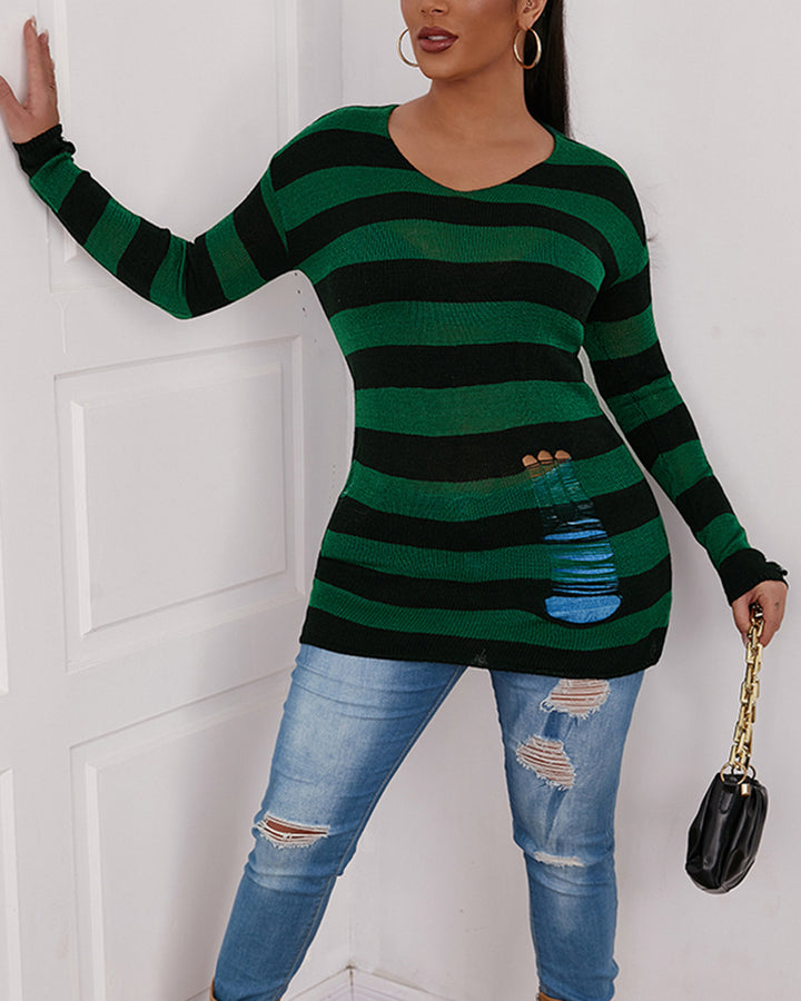 Colorblock Ripped Bodycon Sweater gallery 4