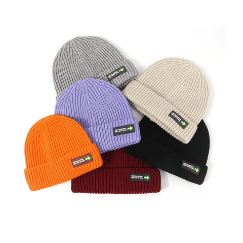 6 Colors Rib Knit Cuffed Beanie Hat With Tag gallery 11