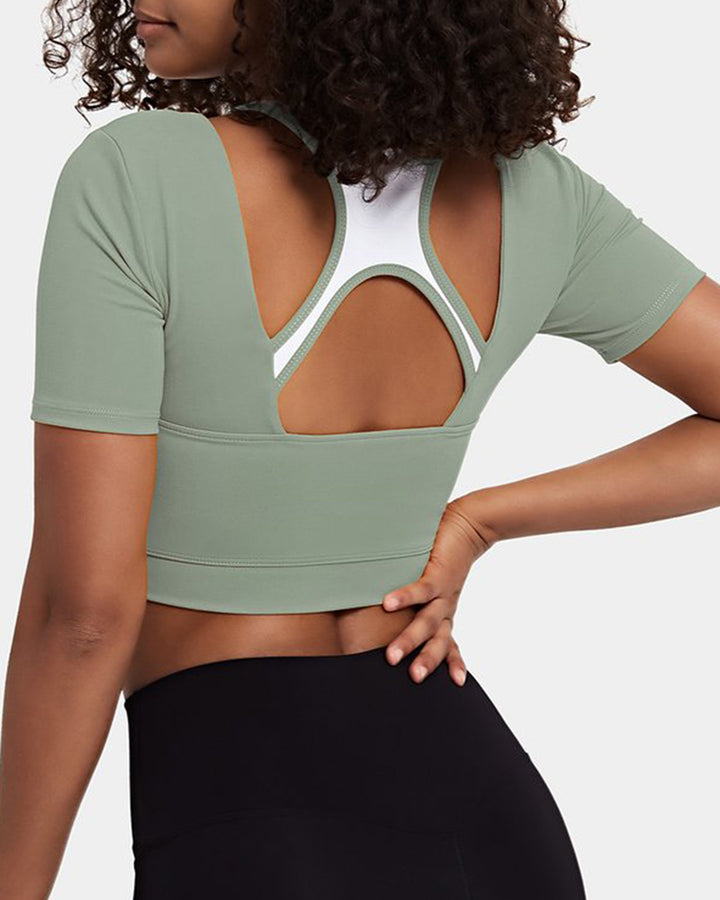 Colorblock Cut Out Bodycon Crop Sports Top gallery 4