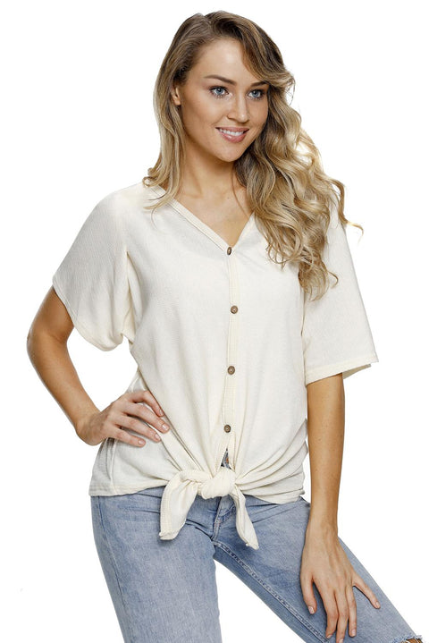 White Dolman Buttoned Front Top with Tie gallery 4