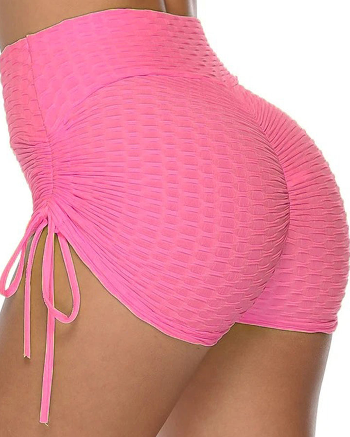 Solid Textured Tie Side Butt Lifting Shorts gallery 4