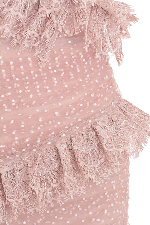 One Shoulder Polka Dot Lace Detail Mesh Ruched Dress gallery 15