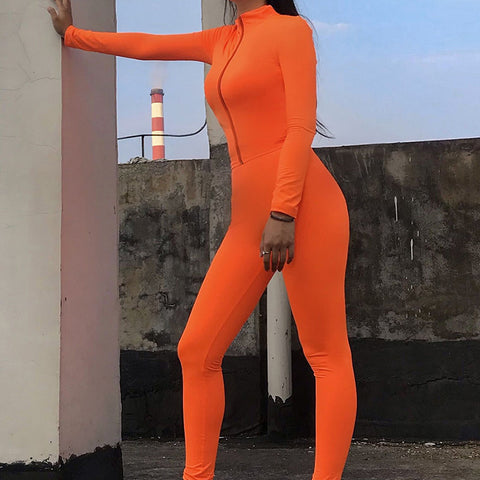 Long Sleeves Neon Color Zip Up Yoga Tracksuit