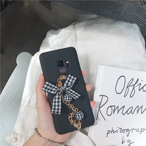 Creative Bowknot Pattern Samsung S10PLUS With Chain Strap Note8/9 Soft Phone Case gallery 3