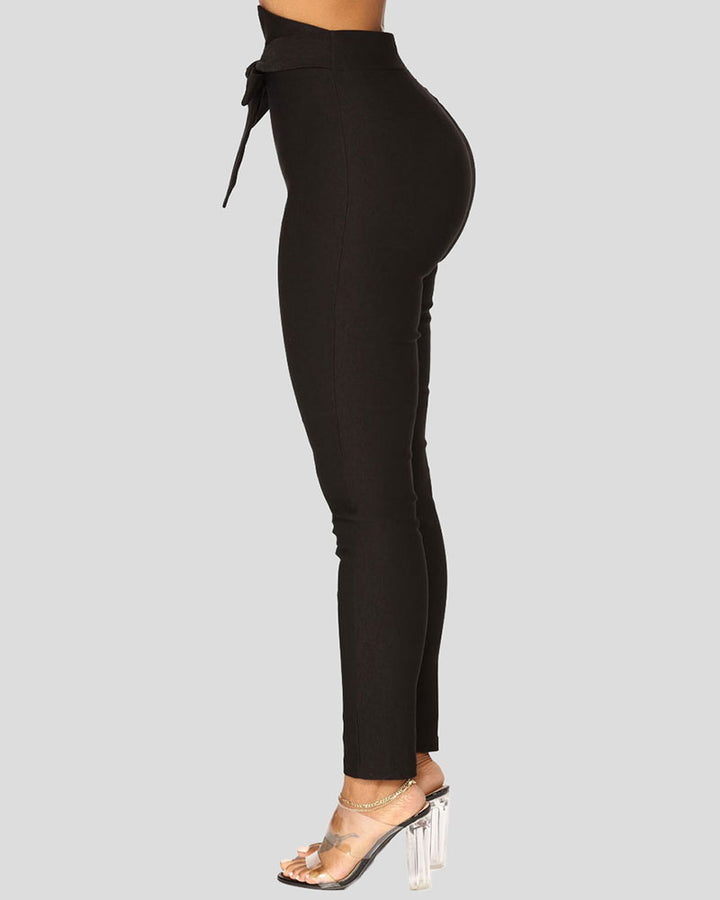 Solid Belt Tie V Wired High Waist Pants  gallery 7