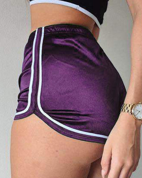 Solid Contrast Binding Elastic Waist Sports Shorts gallery 5