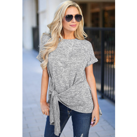 Round Neck Tied Front T-Shirt