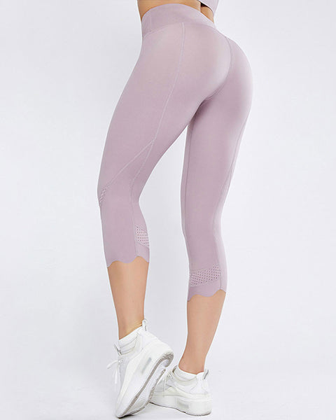 Hollow Out Scallop Detail Capris Sports Leggings gallery 5