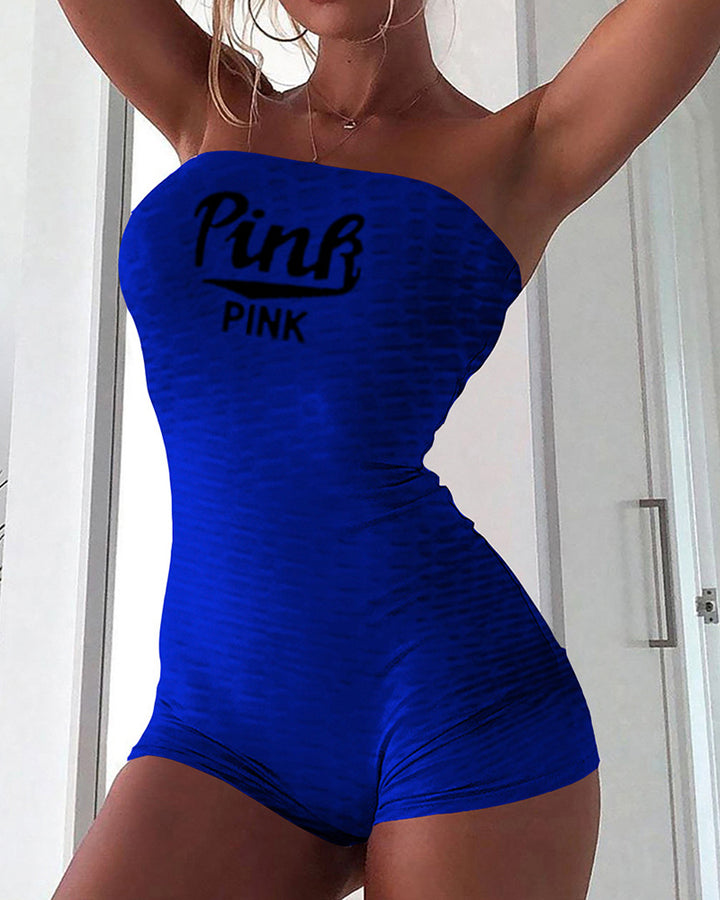 Letter Print Textured Strapless Sports Romper gallery 13