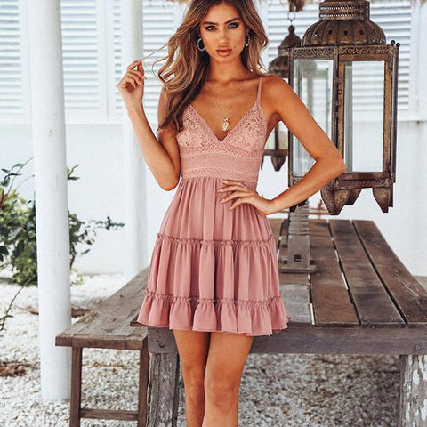Summer Strappy V Neck Bare Back Bow Tie Lace Dress