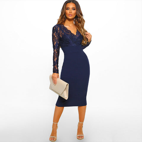 2 Colors Scallop Neck Lace Detail Bodycon Dress