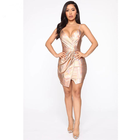 Laser Asymmetric Cami Ruched Mini Dress