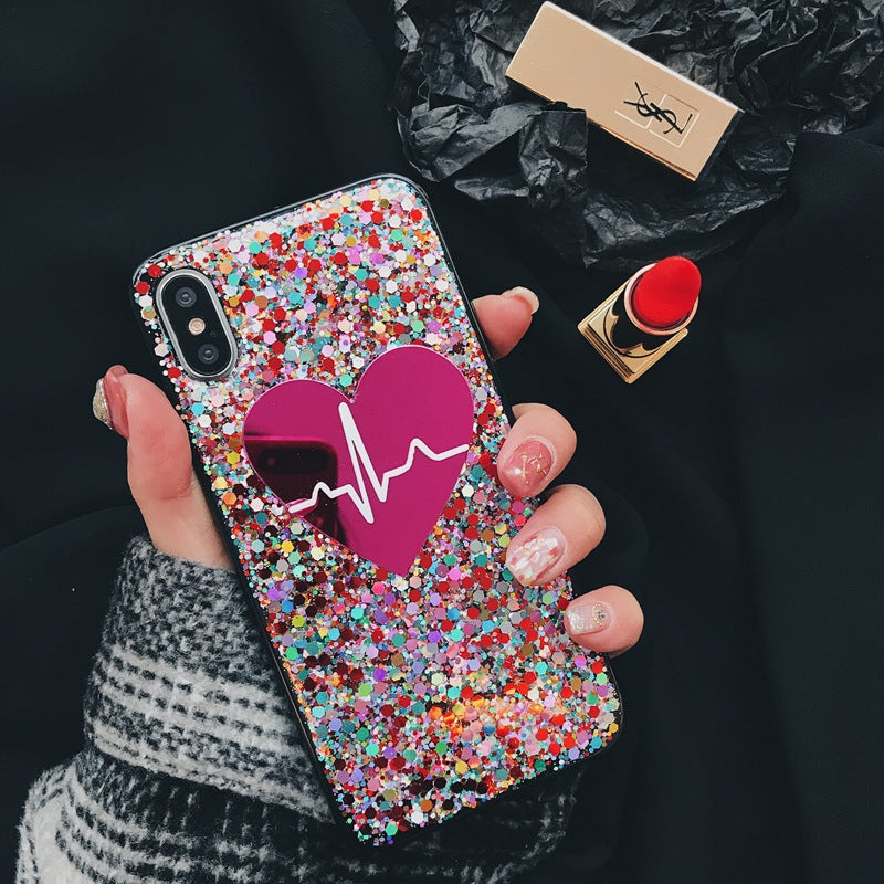 Heart-Shaped Sequins Decorated iPhone Case