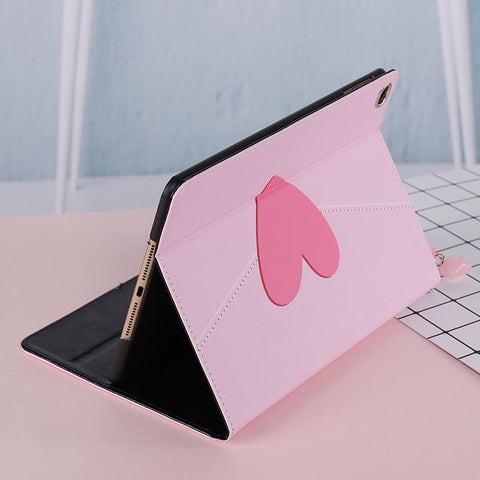 Heart Pattern with Tasseled Foldable iPad Cover Case gallery 2