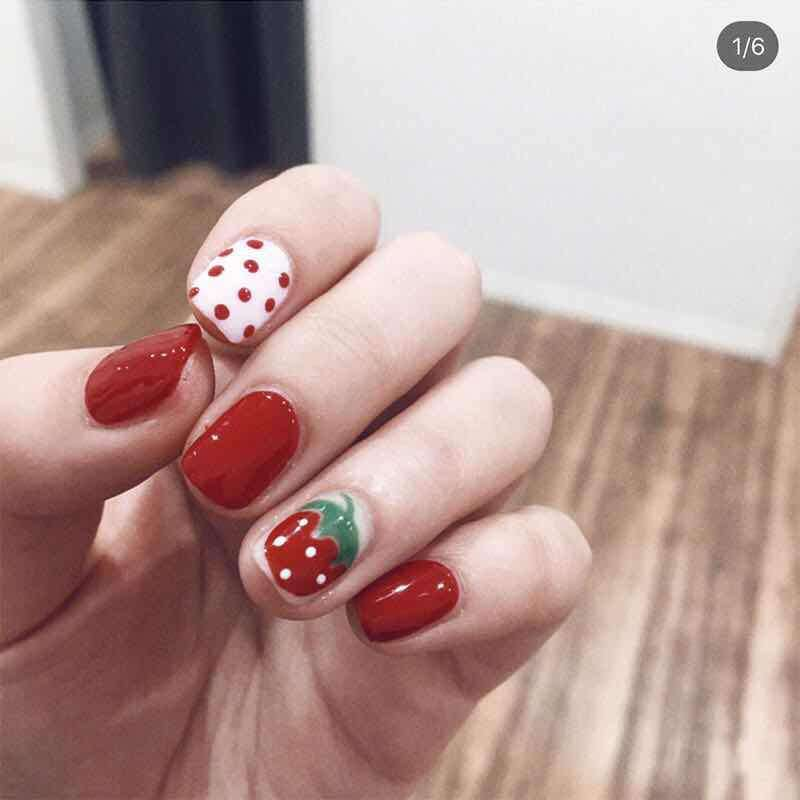 Strawberry Delight Magic Press Nail Manicure