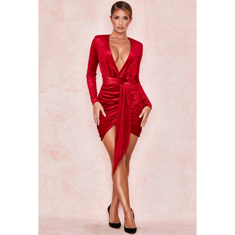 Red Velvet Plunge Waist Wrap Ruched Mini Dress