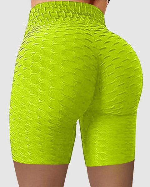 Solid Textured Wide Waistband Butt Lifting Sports Shorts gallery 1