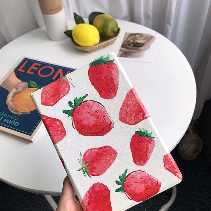 Literary Strawberry Painted Apple iPad Cover Case