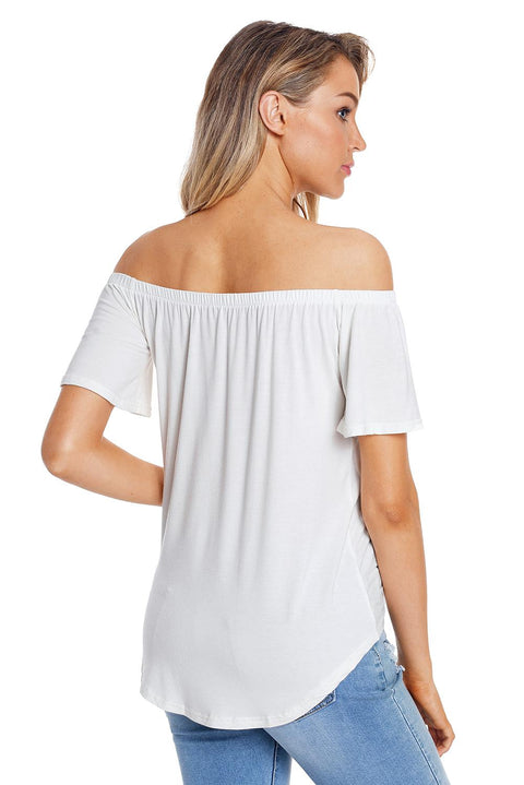 White Off the Shoulder Button Top gallery 6