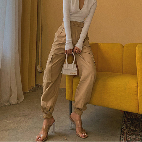 High Waist Straight Leg Cargo Trousers gallery 3