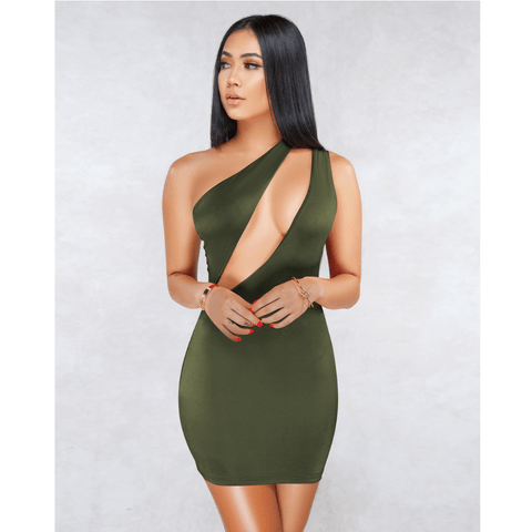 Sexy One Shoulder Bust Cut Out Bodycon Dress gallery 8