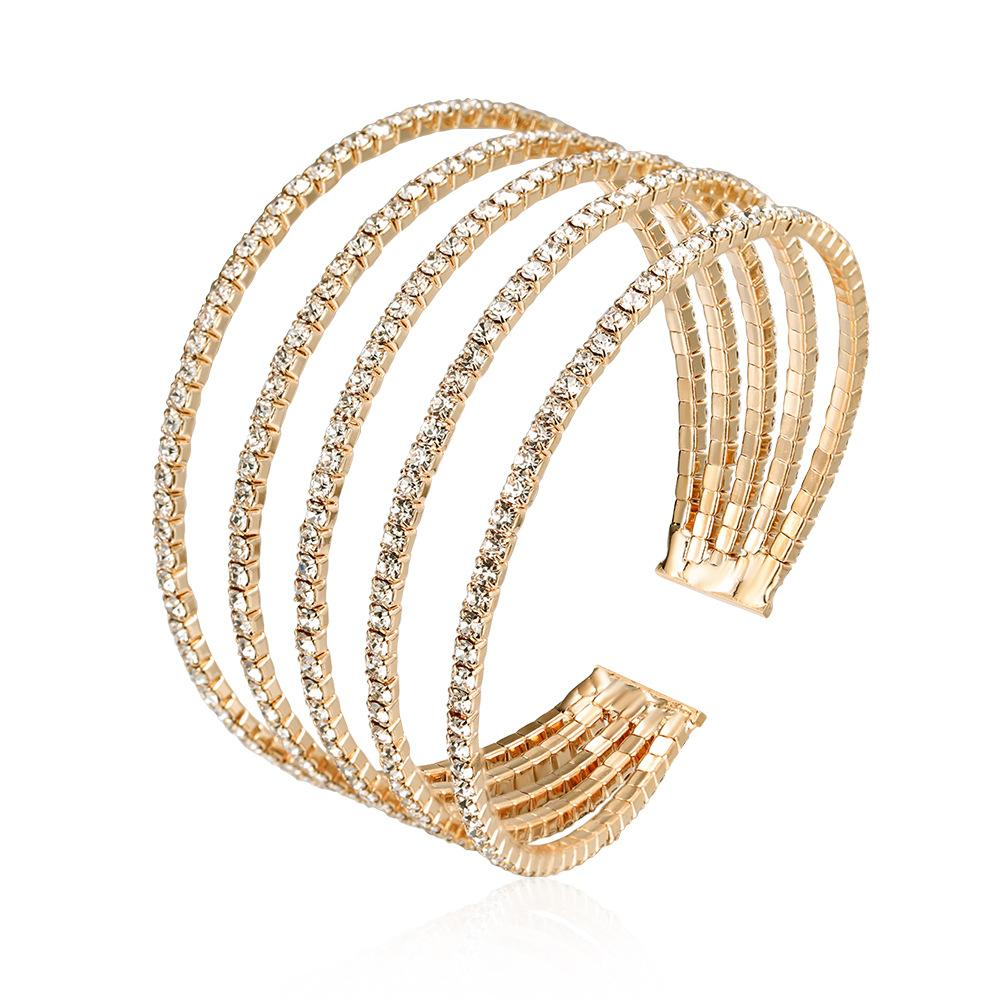 Diamante Stud Multi Row Cuff Bracelet