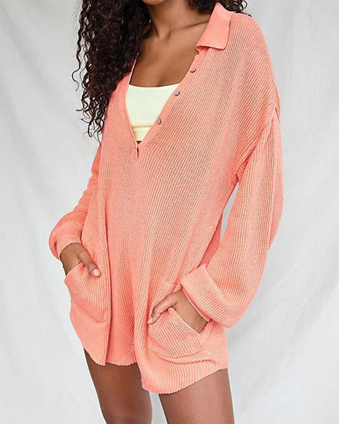 Button Up Pocket Side Rib-Knit Sweater Romper gallery 3