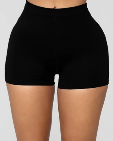 Solid Ribbed High Waist Shorts